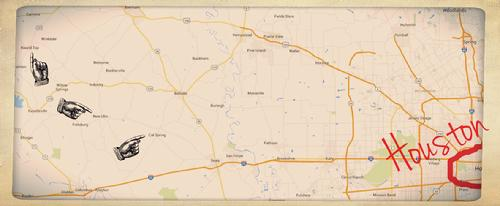 Cat Spring, New Ulm and Round Top Texas on Map in Relation To Houston